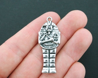 2 Egyptian Mummy Charms Antique Silver Tone - SC4293