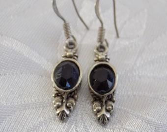 Vintage earrings, Art Nouveau style sterling silver black crystal ornate drop earrings, vintage jewelry