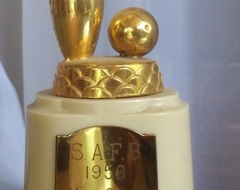 1956 Bowling Trophy for High Game, Second Place Team, Scott Air Force Base, Illinois, Vintage Home  Office Decor