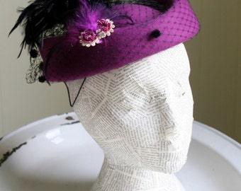 Purple Wool Ladies Hat, Church or Glamour, Vintage Style Gift