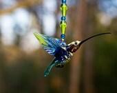 Hummingbird Glass Ornament - Great for Hummingbird Gardens and Hummingbird Flowers - Hang from Hummingbird House or Bird House