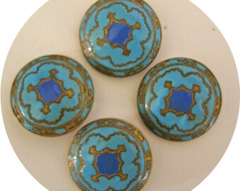Antique Champleve Enamel Buttons Matching Set Vintage 19th Century Buttons Medium Sized