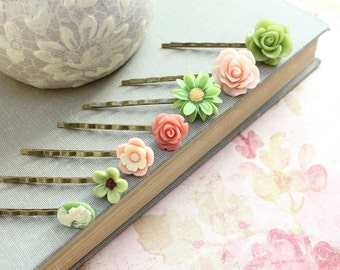 Pink Rose Bobby Pins Leaf Green Daisy Hair Accessories Lady Face Cameo Flower Hair Slides Birthday Gift Vintage Style Flower Girl Gift