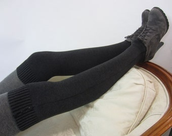 Gray Boot Sock for Women Over the Knee Socks Leg Warmers Charcoal Grey knit Thigh High A1445
