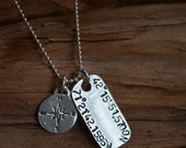 Map Coordinates Necklace For Her or Him- Longitude and Latitude - Graduation, Going Away, College Student, Wedding or ANY Special Place