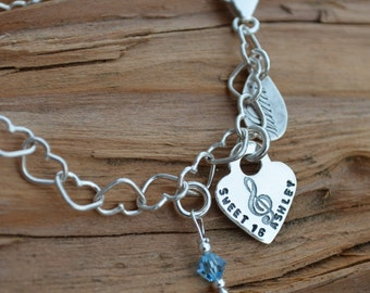 Charm Bracelet - Personalized - Sterling Silver Heart Charm & Birthstone - Stamped Names, Dates - Girls Birthday Gift, Friendship Bracelet