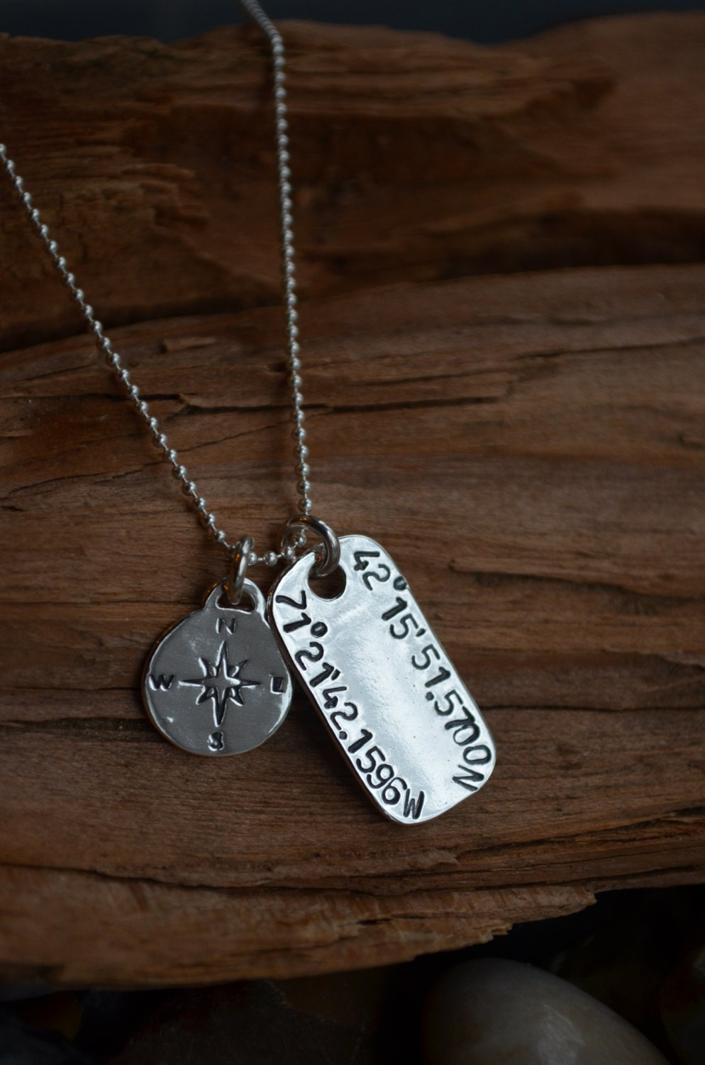 map coordinates necklace for her or him longitude and