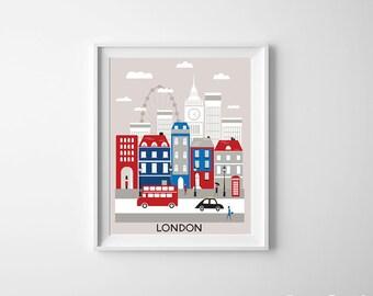 London Art Print Red Blue Black White British Guards UK