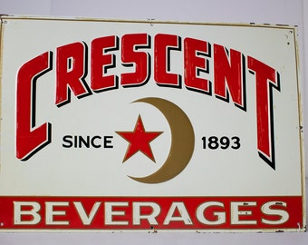 Vintage Metal Sign -Crescent Beverage -PRICE REDUCED
