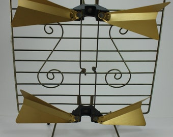 Vintage TV Television Antenna Bunny Ears Double Bow Tie Brass Mid Century Modern Atomic Industrial