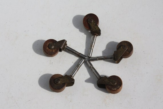 Vintage Wheels Casters Wooden Furniture Industrial By Cybersenora