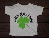 Little Miss Lucky St Patricks Day Shirt Clover Shamrock St Pattys Day Green Black T Shirt