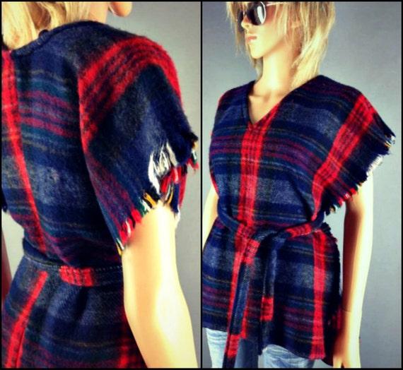 Vintage Southwestern Mexican Plaid Blanket Poncho Fringe Cape Huipil Drug Rug Hippie Sweater Jacket Vest Jumper S M L