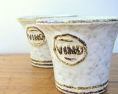 Vintage Pair of Pottery Craft Stoneware Wine Glass