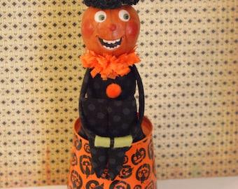 Halloween Kneehugger Vintage Inspired Kneehugger Doll Kneehugger Elf, Knee hugger Elf Pumpkin Doll Prim Doll Prim Pumpkin Folk Art Halloween