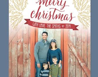 Merry Christmas Calligraphy Christmas Card / Photo Card - Digital File / Printable