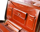 1970s Tan Leather Letter Writing Portfolio Case - Vintage Leather Organizer Pocketbook Case : Mail, Correspondence Set