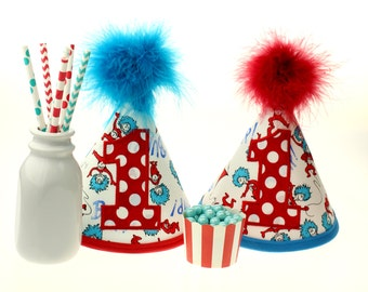 Dr Seuss - Thing 1 and Thing 2- Fabric Birthday Cake Smash TWIN SET of 2