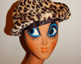 MEOW - Large vintage stylish 50's 60's faux fur leopard print atomic bombshell pin up hat beret pill box with brown satin ribbon