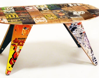 "Recycled Skateboard Coffee Table by Deckstool - 40"" x 21"" x 18""H - Recycled skateboards unique modern furniture design. Skater Home Gift."