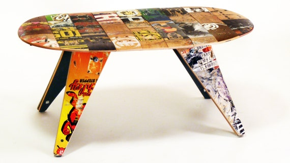 """Recycled Skateboard Coffee Table by Deckstool - 40"""" x 21"""" x 18""""H - Recycled skateboards unique modern furniture design. Skater Home Gift."""