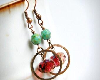 earrings, drop, dangle, hoop earrings, boho, copper hoop earrings