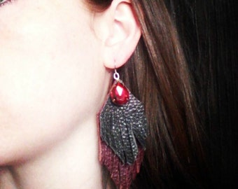 Leather Fringe Tribal Earrings, CHOOSE YOUR COLOR, One Pair (1)