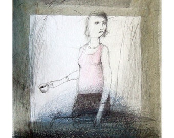 Woman Coffee original drawing people illustration figurative square