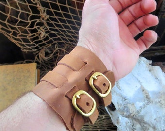 Leather Wrist Cuff, light-BrownTan- Firefly, Johnny Depp, Punk Rock