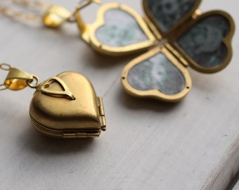 Friends & Family Locket ... Blank Heart Locket Four Photos Gold Vintage Brass