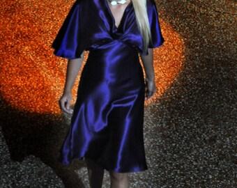 Bespoke, haute couture silk bias-cut vintage-style 1940s dress.