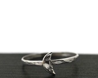 Silver Moon Ring, Crescent Moon Ring, Sterling Charm Ring, Sterling Silver Ring, Celestial Jewelry