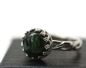 8mm Seraphinite Ring, Sterling Silver Celtic Jewelry, Natural Silvery Green Gemstone, Personalized Inscription, Custom Engraved Ring