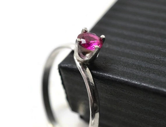 simple ruby ring offset gemstone ring minimalist by