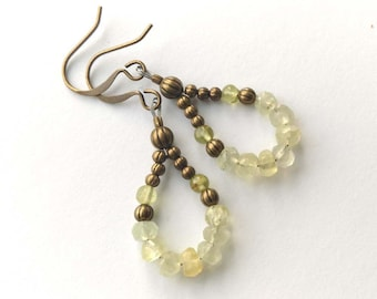 Faceted Peridot and Brass Pale Green Wire Wrapped Brass Bronze Antiqued Gold Dangle Earrings