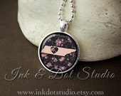 Floral Tennessee State Necklace, Tennessee Love Pendant, Pink Tennessee State Pendant, Tennessee Gift, TN State