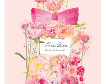 Miss Dior, Blooming Bouquet perfume watercolour illustration, Print