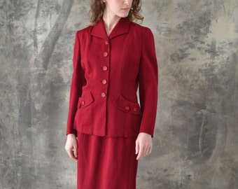 1940s Dark Red Tailored Wool Suit