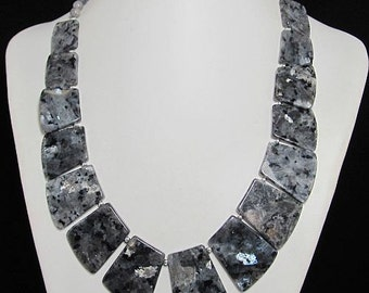 Necklace 21 inch IN Larvikite and 925 Silver