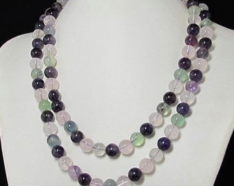 Necklace 40 inch IN Rose Quartz Fluorite Amethyst 925 Silver