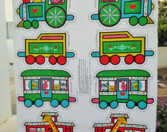 Vintage Sew and Stuff, Circus Train, Sew and Stuff Train, Circus Animals, Vintage Crafting, Cotton Fabric, Printed Panel, Juvenile Fabric