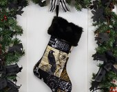 Nevermore Gothic Raven Christmas Stocking with Black Faux Fur