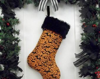 Goth Punk Christmas Stocking Orange with Black Halloween Bats and Black Fur