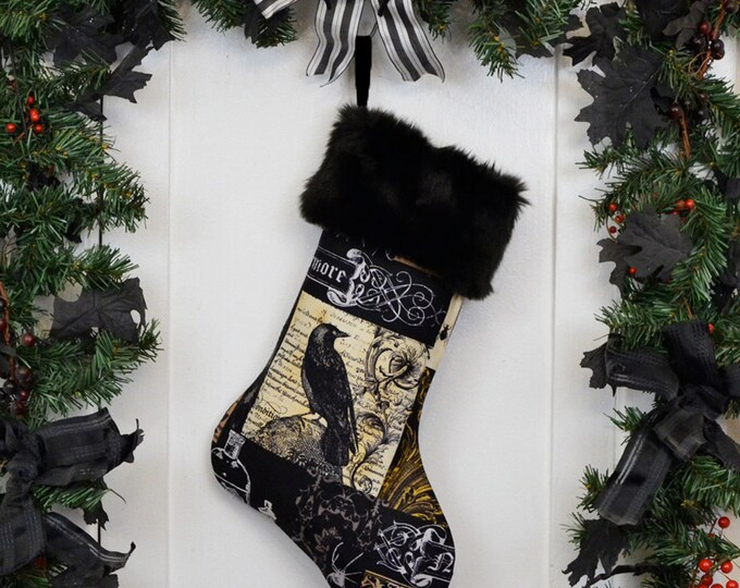 Nevermore Gothic Raven Christmas Stocking, Black Faux Fur, Black Brown Patchwork Print, Halloween Decoration