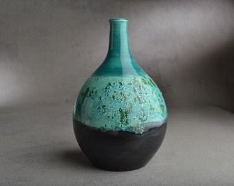 Bottle Vase Ready To Ship Blue Green Satin Black Slender Neck Bottle Vase by Symmetrical Pottery