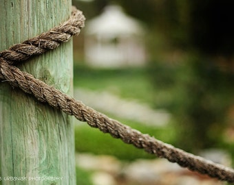 Rustic photography rope photography green country wall art farm photograph Fine Art Photography Print