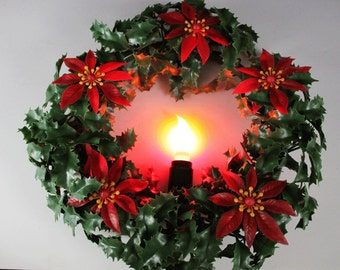 Vintage Christmas Wreath with Candle Light - Plastic Wreath Holly and Poinsettia (EACH)