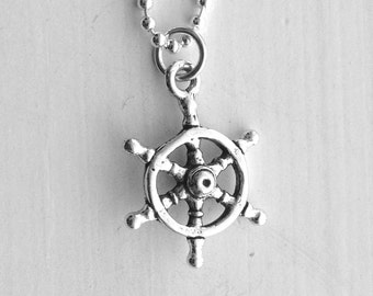Helm Necklace, Sterling Silver Jewelry, Boat Necklace, Ship's Wheel Necklace, Nautical Jewelry, Charm Necklace, Chart Your Own Course, Ship