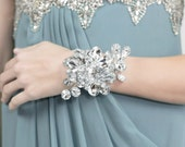 Wrist Corsage - Silver Duo Mirrored Flower Beads - Wedding Accessory - Holiday Wrist Corsage for Prom or Dance