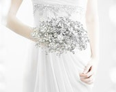 Bridal Bouquets - The Luxe Duo Mirrored Bouquet - Wedding Bouquet - Fabulous Brooch Bouquet Alternative with Grooms Boutonniere